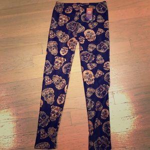 Pants - Fleece sugar skull leggings - BNWT - brown